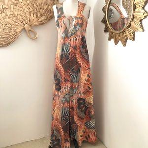 Vintage RARE Plunging John Kloss Maxi Dress S/M